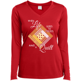 Make a Quilt (yellow) Ladies Long Sleeve V-neck Tee - Crafter4Life - 5