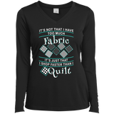 I Shop Faster than I Quilt Ladies Long Sleeve Performance V-neck Tee - Crafter4Life - 2