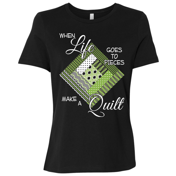 Make a Quilt (Greenery) Ladies' Relaxed Jersey Short-Sleeve T-Shirt