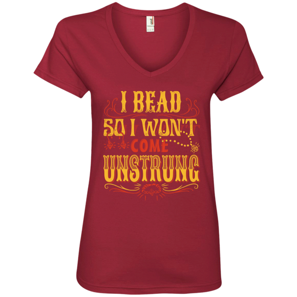 I Bead So I Won't Come Unstrung (gold) Ladies V-neck Tee - Crafter4Life - 4