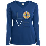 LOVE Quilting (Fall Colors) Ladies Long Sleeve V-neck Tee - Crafter4Life - 8