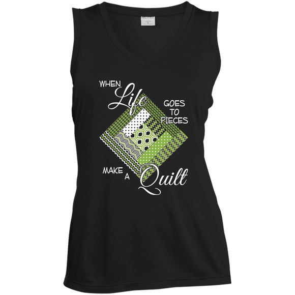 Make a Quilt (Greenery) Ladies' Sleeveless Moisture Absorbing V-Neck