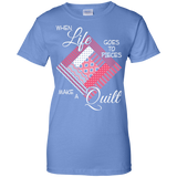 Make a Quilt (pink) Ladies Custom 100% Cotton T-Shirt - Crafter4Life - 6