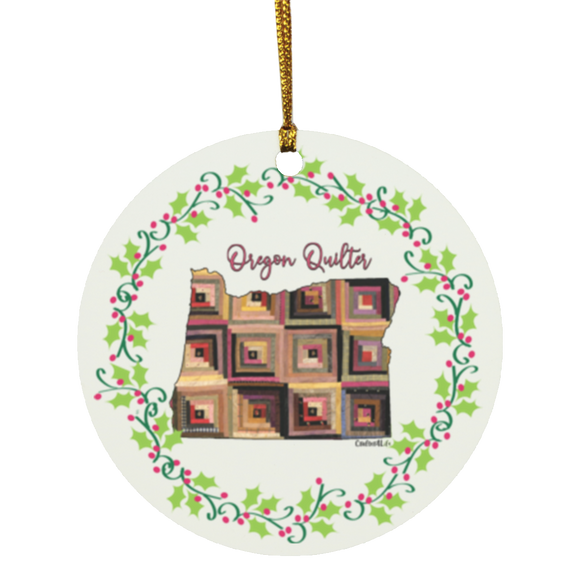 Oregon Quilter Christmas Circle Ornament
