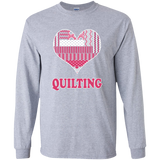 Heart Quilting Long Sleeve Ultra Cotton T-Shirt - Crafter4Life - 2