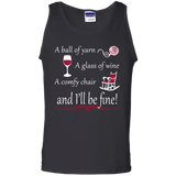 A Ball of Yarn a Glass of Wine Tank Top - Crafter4Life - 1