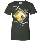 Make a Quilt (yellow) Ladies Custom 100% Cotton T-Shirt - Crafter4Life - 6
