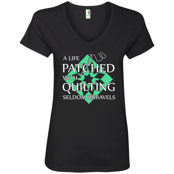 Quilting Seldom Unravels Ladies' V-Neck T-Shirt