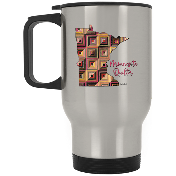 Minnesota Quilter Silver Stainless Travel Mug