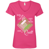 Make a Quilt (Greenery) Ladies' V-Neck T-Shirt