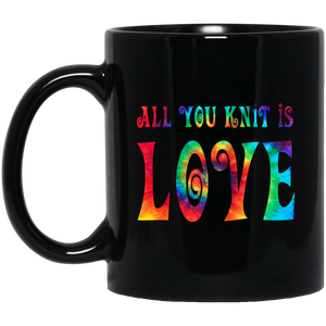 All You Knit is Love Black Mugs