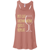 Pet Cat-Drink Wine-Quilt Flowy Racerback Tank