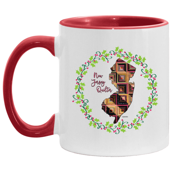 New Jersey Quilter Christmas Accent Mug