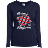 Quilters Make Better Comforters Ladies Long Sleeve V-neck Tee - Crafter4Life - 4