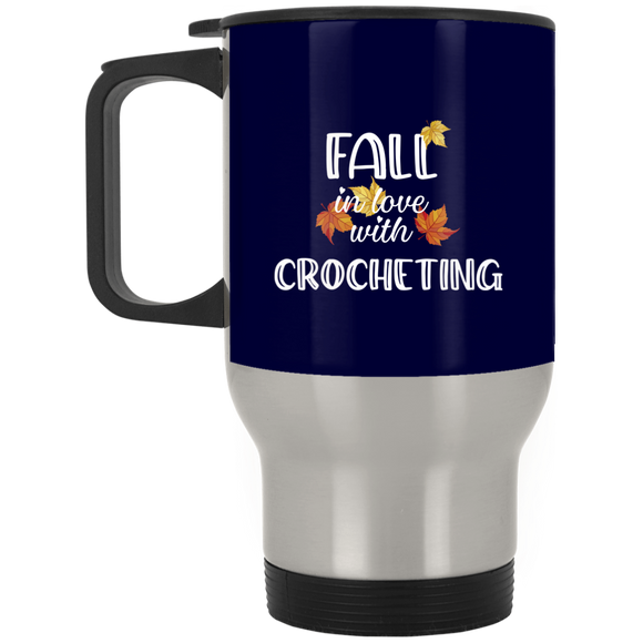 Fall in Love with Crocheting Silver Stainless Travel Mug