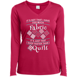 I Shop Faster than I Quilt Ladies Long Sleeve Performance V-neck Tee - Crafter4Life - 3