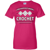 I Am Happiest When I Crochet Ladies Custom 100% Cotton T-Shirt - Crafter4Life - 9