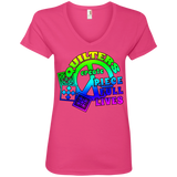 Quilters Create Piece Full Lives Ladies V-neck Tee - Crafter4Life - 4