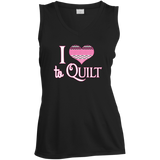 I Heart to Quilt Ladies Sleeveless V-neck - Crafter4Life - 3