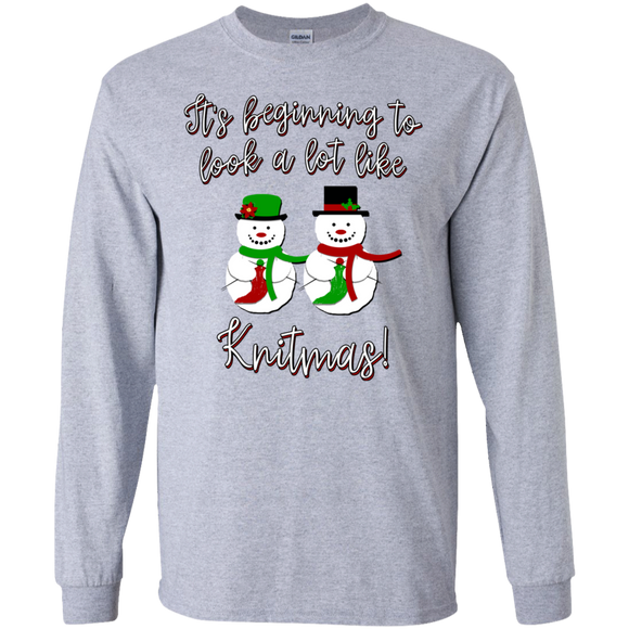 Knitmas Snow Couple LS Ultra Cotton T-Shirt