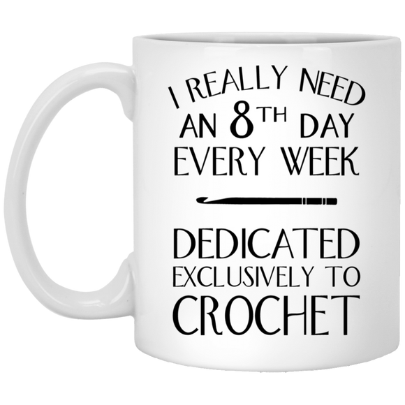 8th Day Crochet White Mugs
