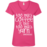 Too Much Coffee is Like Too Much Yarn Ladies V-Neck Tee