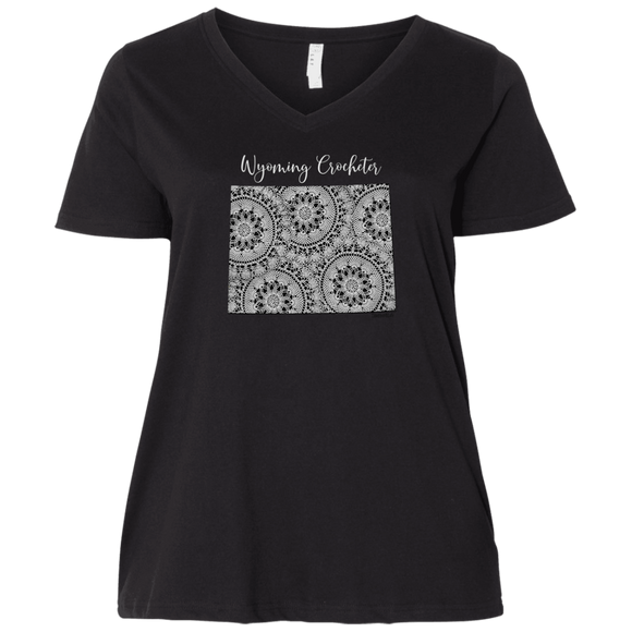 Wyoming Crocheter Ladies Curvy Full-Figure T-Shirts