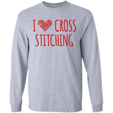 I Heart Cross Stitching LS Ultra Cotton T-Shirt