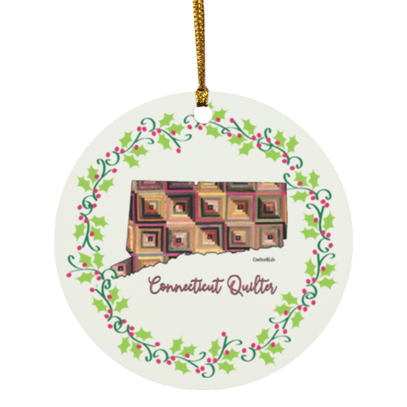 Connecticut Quilter Christmas Circle Ornament
