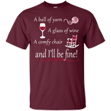 A Ball of Yarn a Glass of Wine Men's and Unisex T-Shirts - Crafter4Life - 1