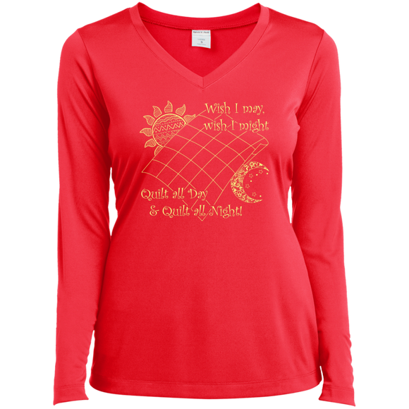 Wish I May Quilt Ladies Long Sleeve V-neck Tee - Crafter4Life - 1