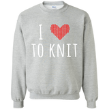 I Heart To Knit Crewneck Pullover Sweatshirt