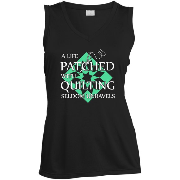 Quilting Seldom Unravels Ladies' Sleeveless Moisture Absorbing V-Neck