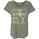 Pet Cat-Drink Wine-Quilt Ladies Triblend Dolman Sleeve
