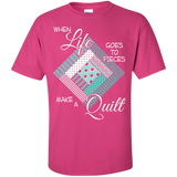 Make a Quilt (turquoise) Custom Ultra Cotton T-Shirt - Crafter4Life - 7