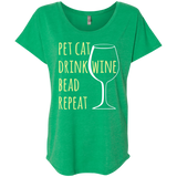 Pet Cat-Drink Wine-Bead Ladies Triblend Dolman Sleeve