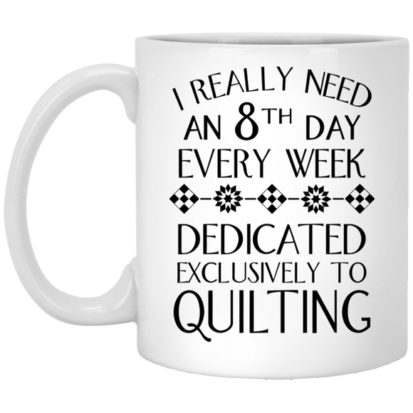 8th Day Quilting White Mugs