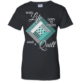 Make a Quilt (turquoise) Ladies Custom 100% Cotton T-Shirt - Crafter4Life - 2