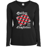 Quilters Make Better Comforters Ladies Long Sleeve V-neck Tee - Crafter4Life - 2