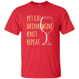 Pet Cat-Drink Wine-Knit Ultra Cotton T-Shirt