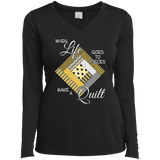 Make a Quilt (yellow) Ladies Long Sleeve V-neck Tee - Crafter4Life - 2