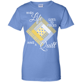 Make a Quilt (yellow) Ladies Custom 100% Cotton T-Shirt - Crafter4Life - 8
