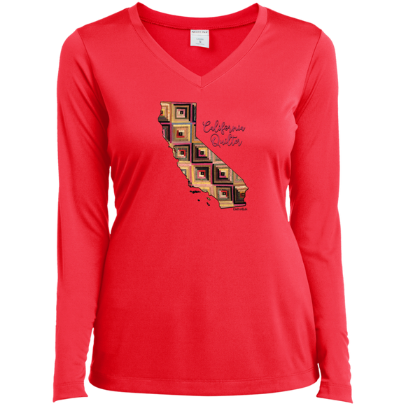 California Quilter Ladies' LS Performance V-Neck Shirt