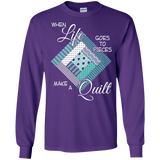Make a Quilt (turquoise) Long Sleeve Ultra Cotton T-Shirt - Crafter4Life - 7