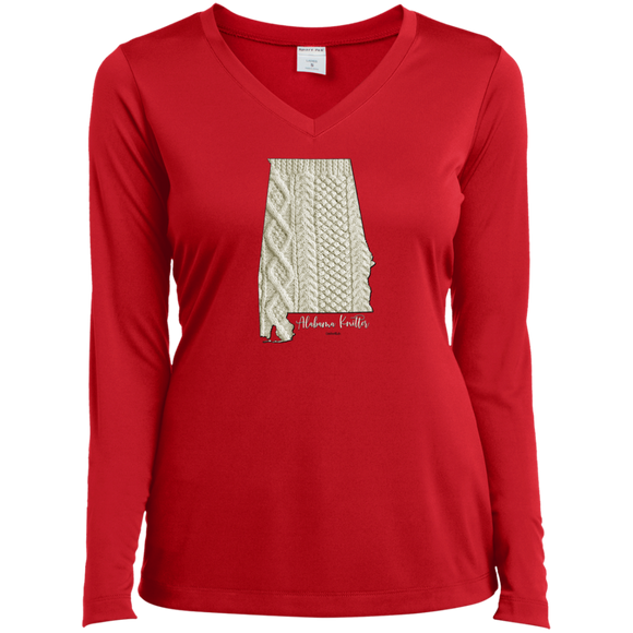 Alabama Knitter Ladies' LS Performance V-Neck Shirt