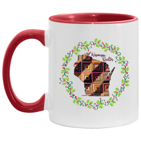 Wisconsin Quilter Christmas Accent Mug