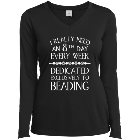 8th Day Beading Ladies LS Performance V-Neck T-Shirt