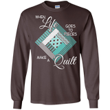 Make a Quilt (turquoise) Long Sleeve Ultra Cotton T-Shirt - Crafter4Life - 3