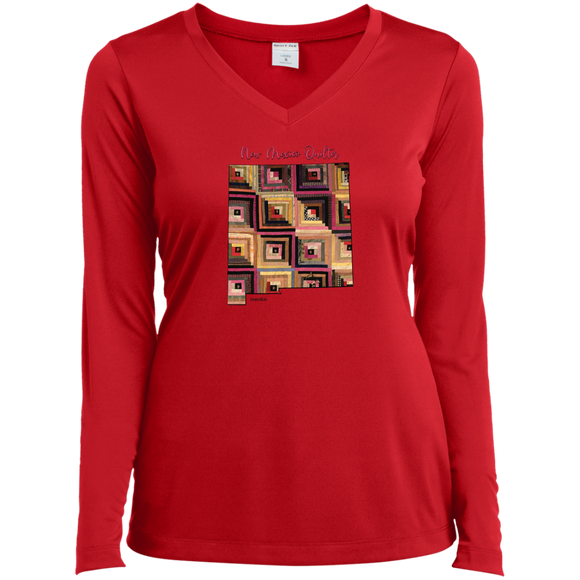 New Mexico Quilter Ladies' LS Performance V-Neck Shirt