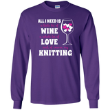 All I Need is Wine-Love-Knitting Long Sleeve Ultra Cotton Tshirt - Crafter4Life - 12